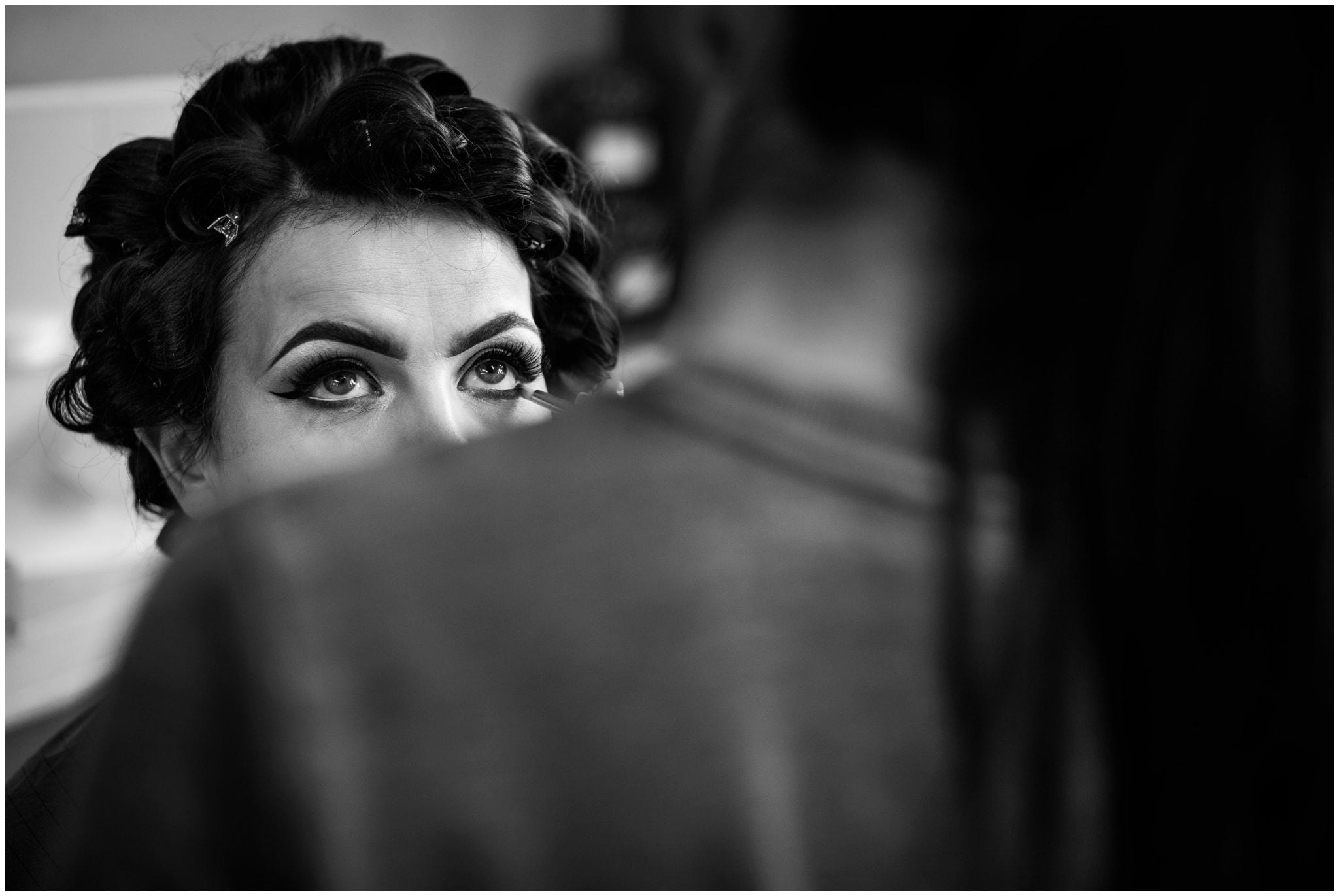bride having makeup at nuneaton wedding