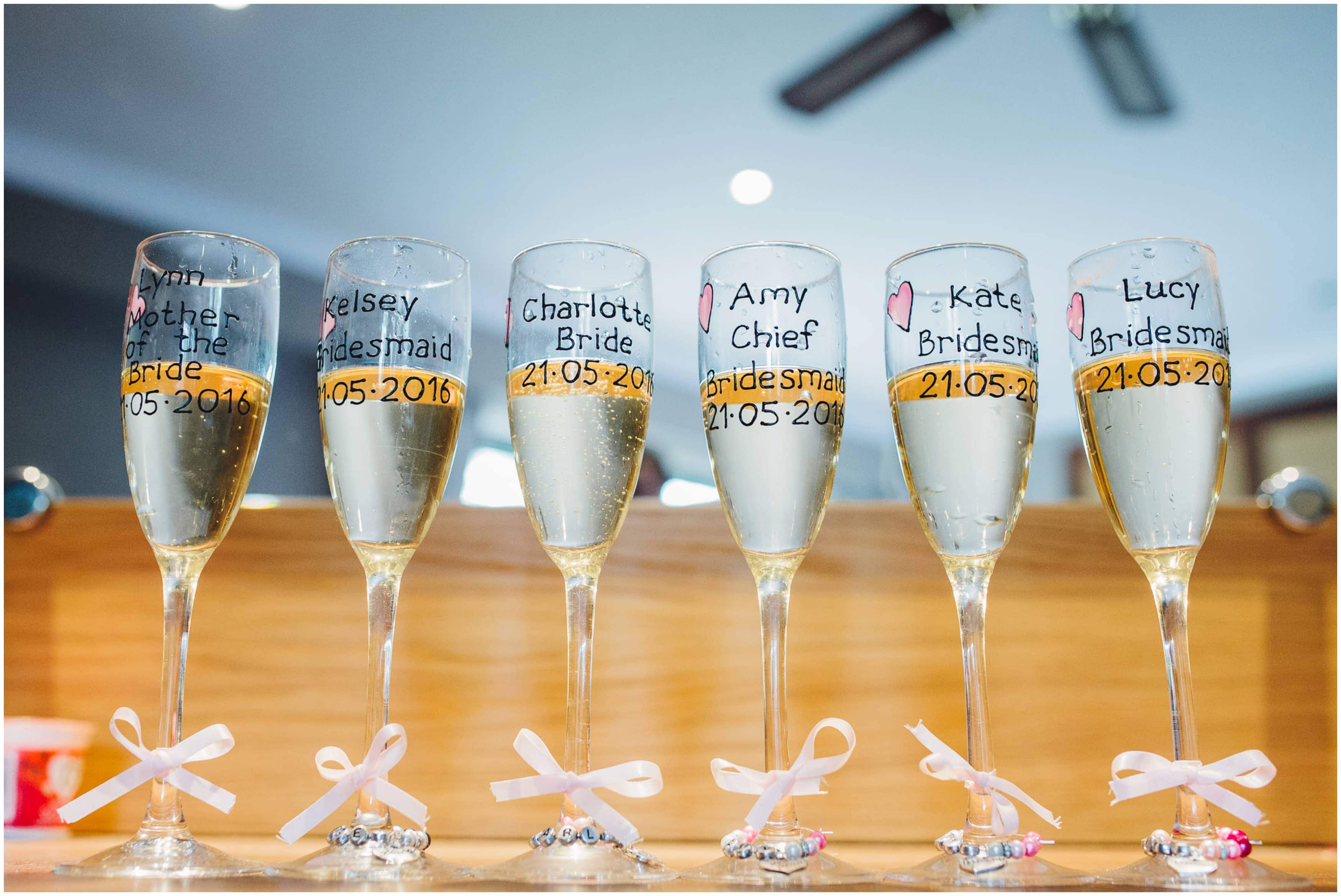 Bordesley Park Wedding Photographer - Personalised Champagne Glasses