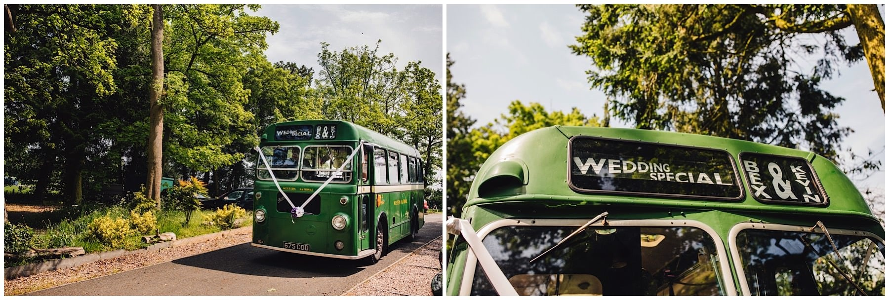 vintage bus at the woodlands wedding venue