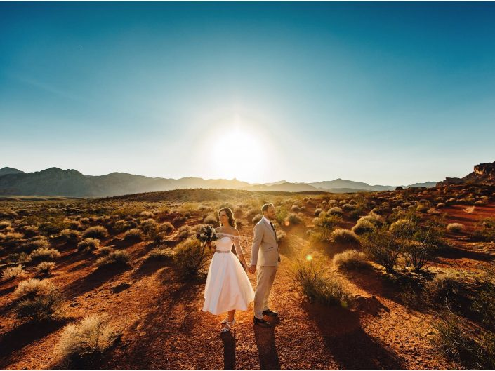 Bride & Groom in the middle of the desert