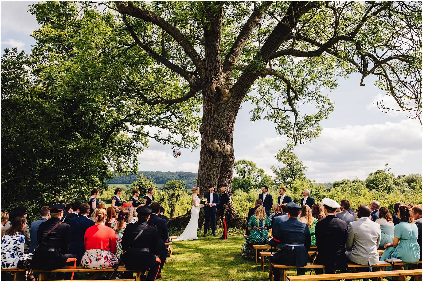 Wedding ceremony at the Haybarn in Shropshire