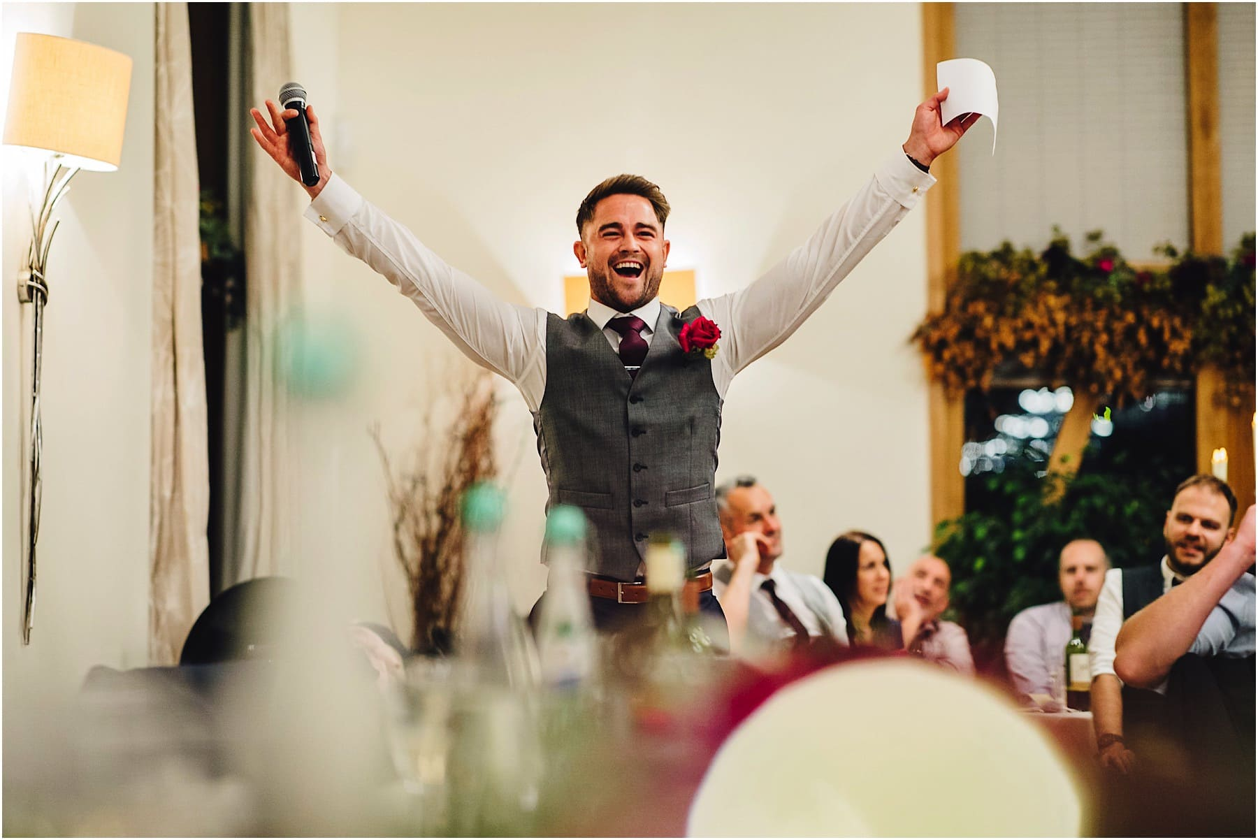 Best Man celebrating his wedding speech
