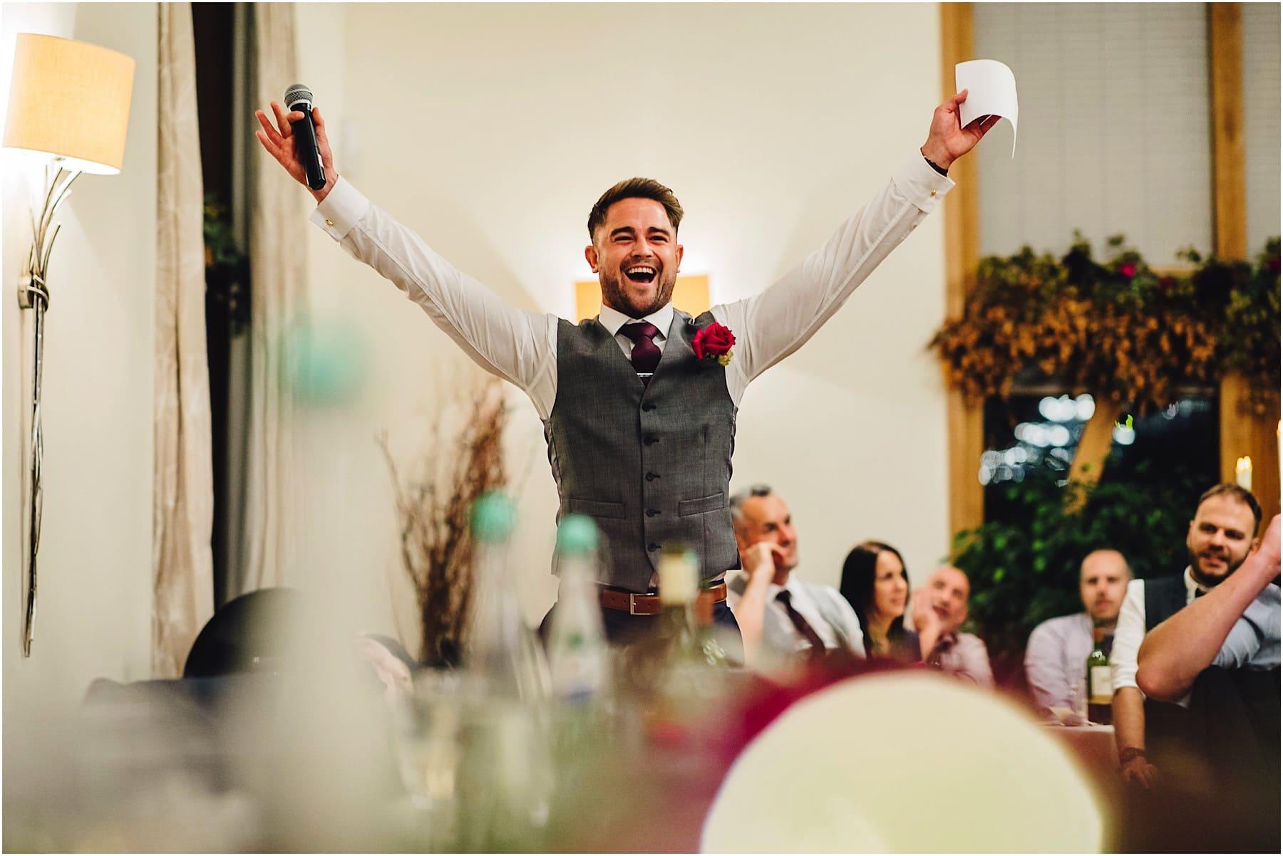 Best Man celebrating his wedding speech