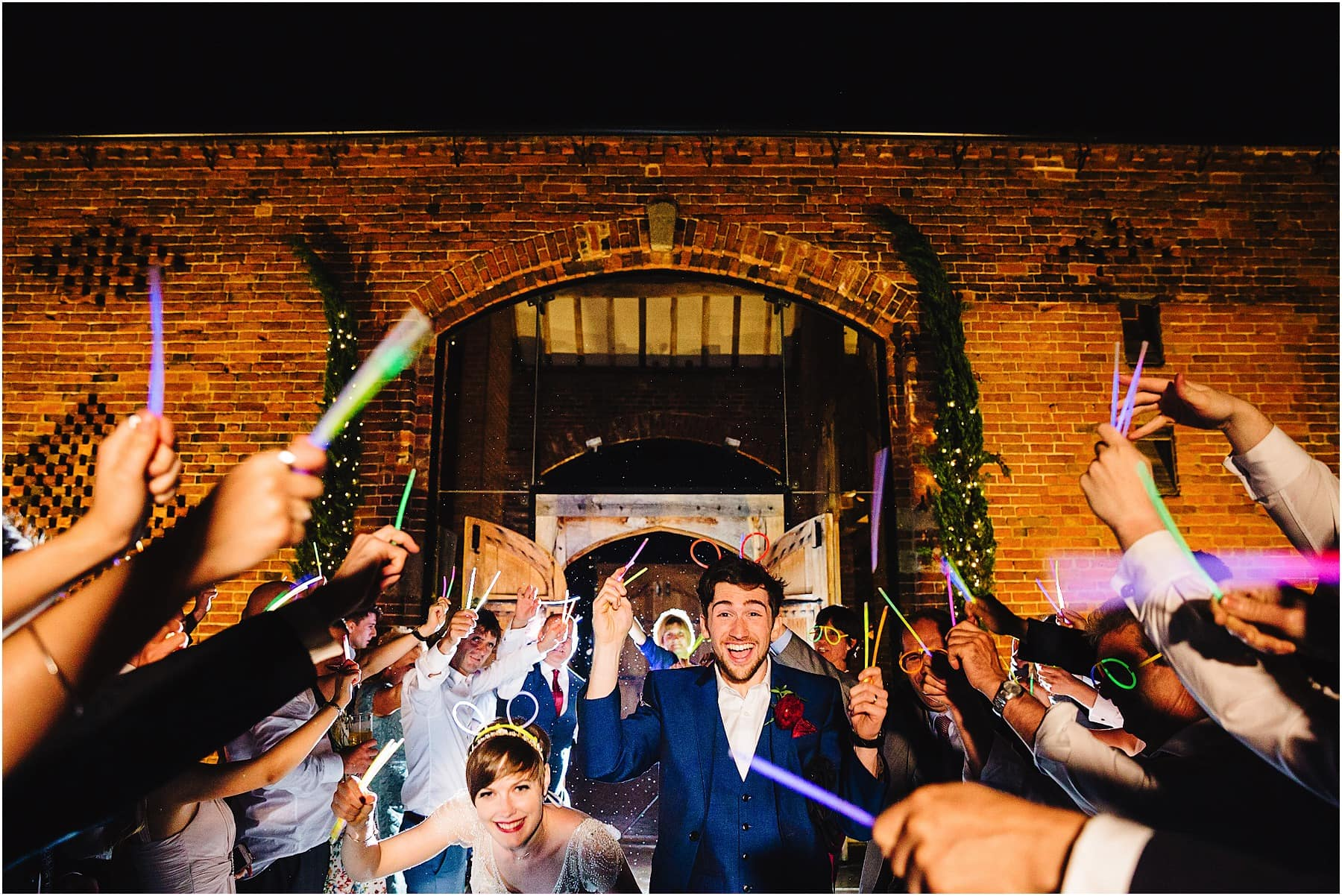 glow stick exit at wedding