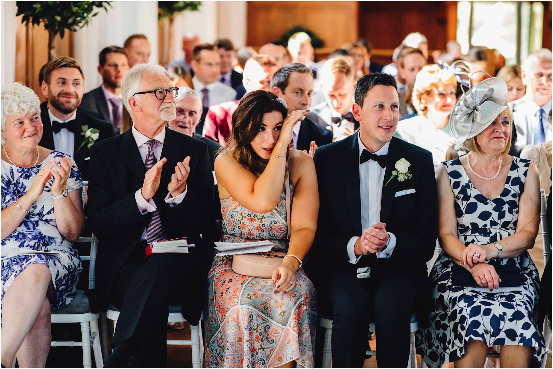 wedding guests getting tearful