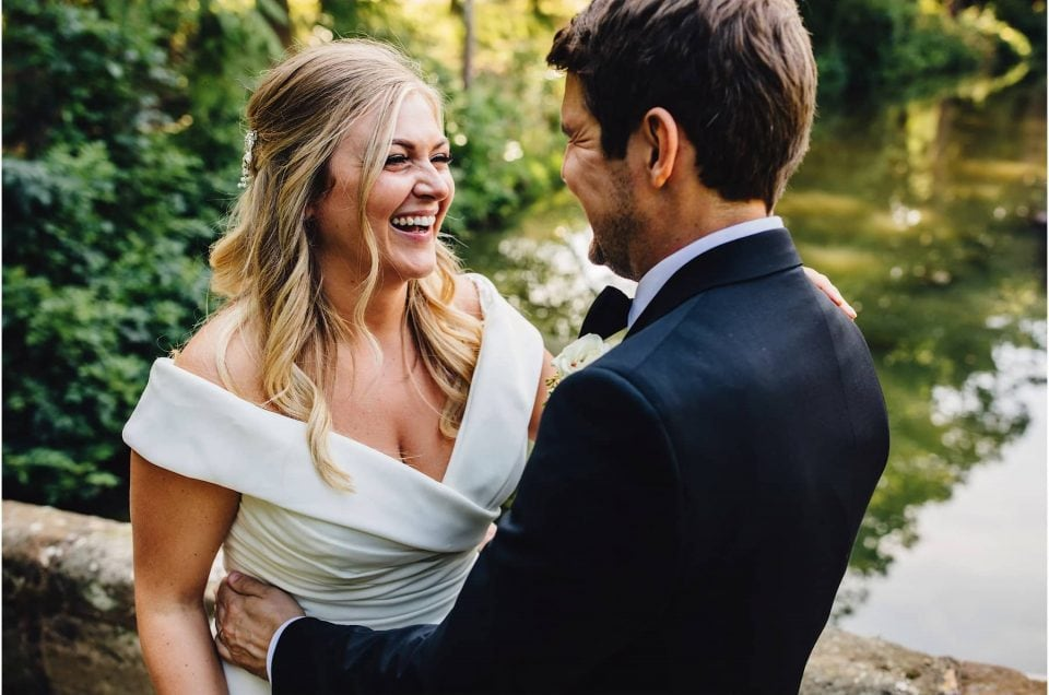 bride and groom enjoying own company