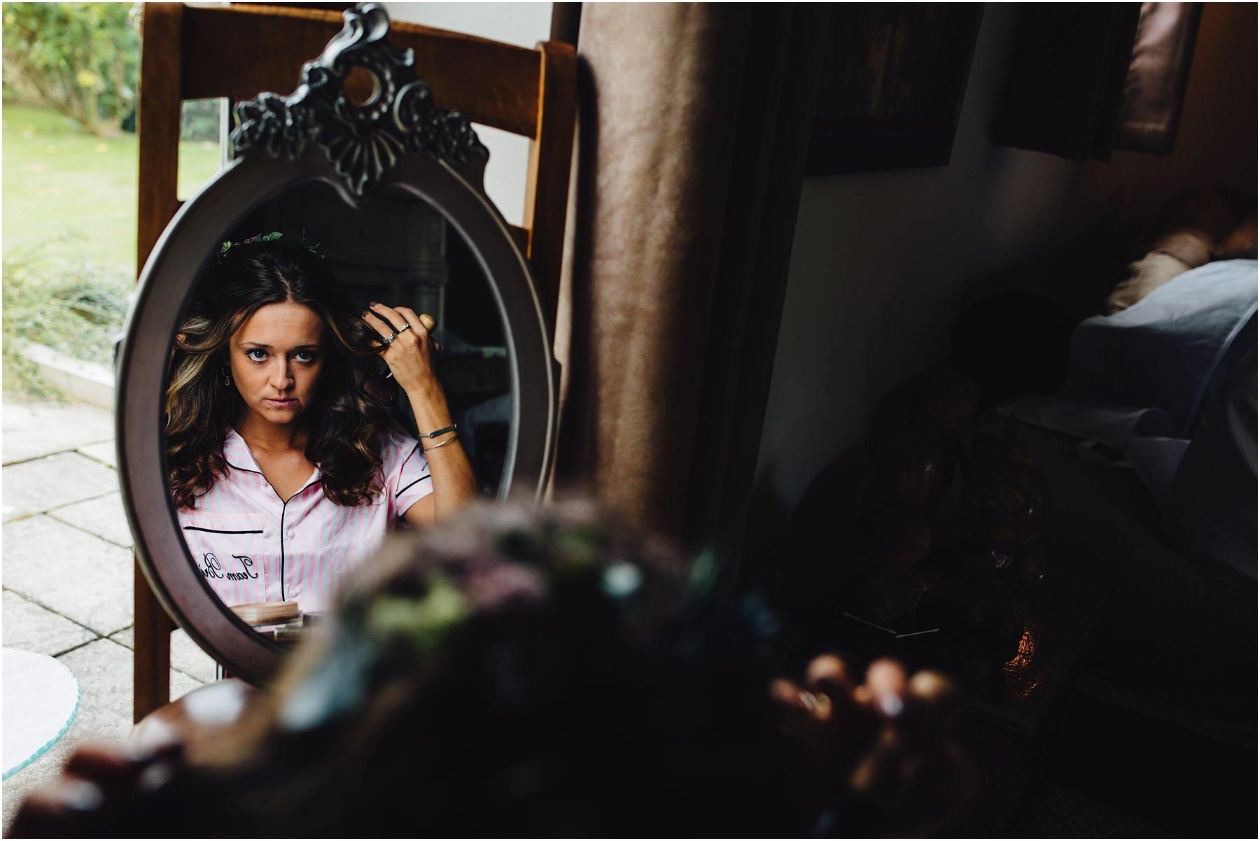 bridesmaid in a mirror