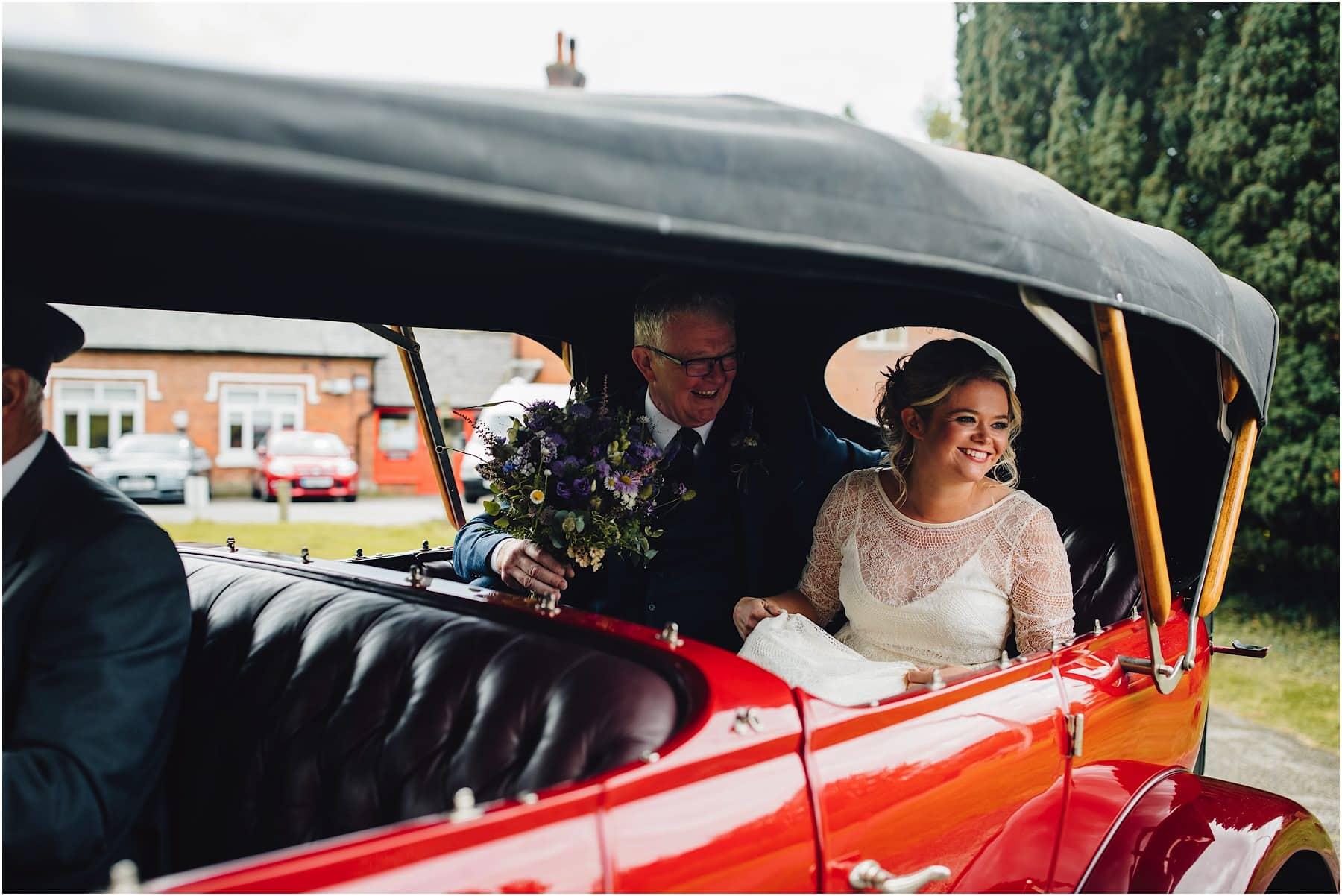 bride arriving in a car