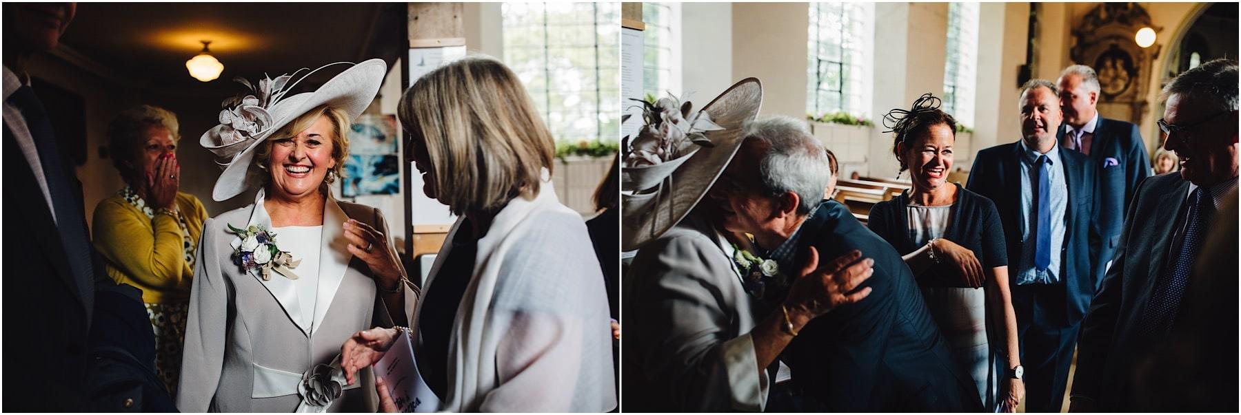 brides parents hugging