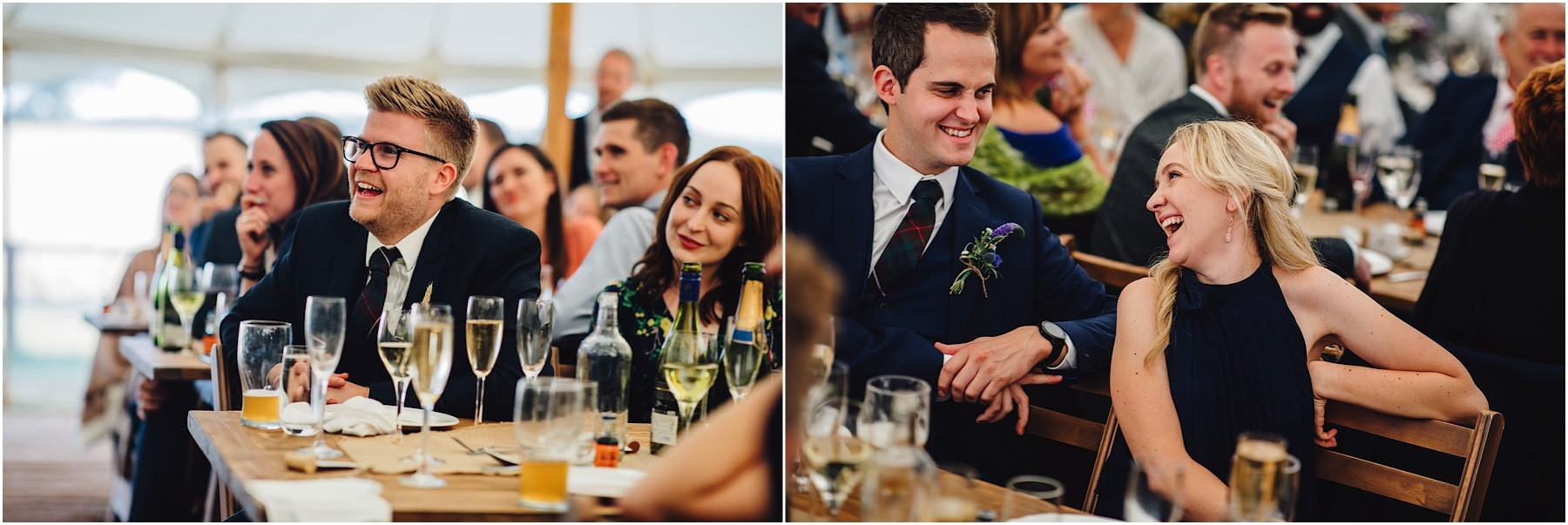 wedding guests laughing at funny wedding speech