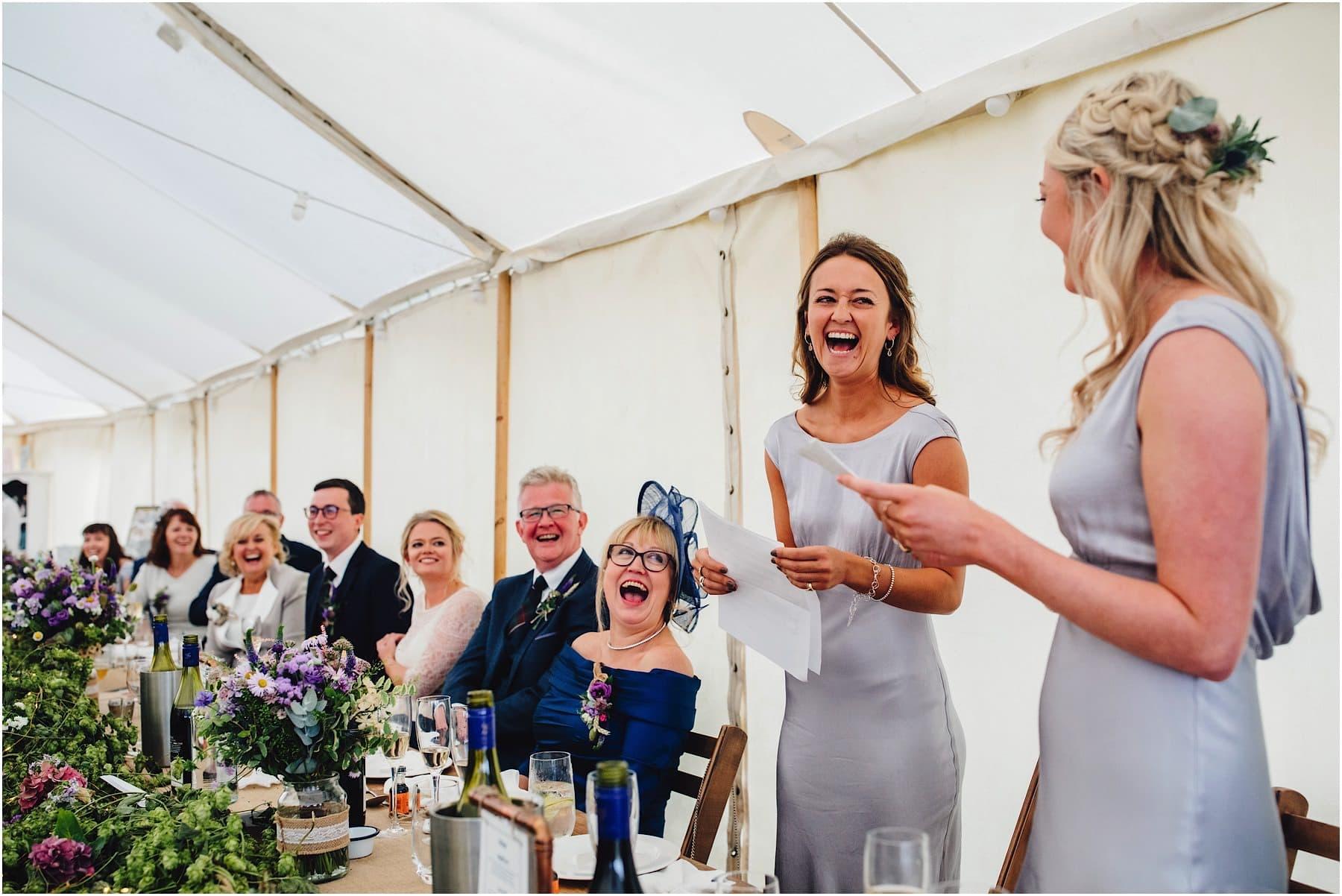 bridesmaids doing a wedding speech