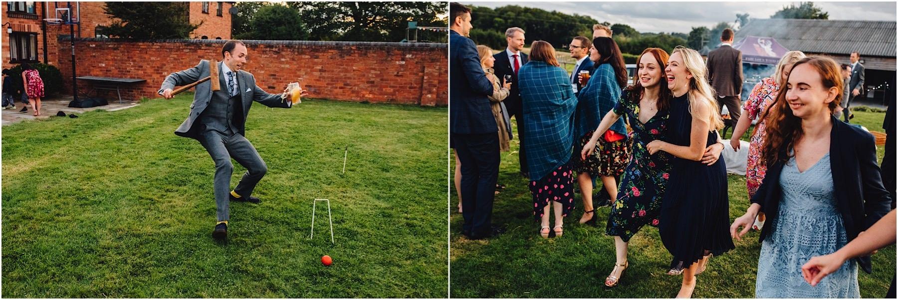 drunken wedding guests having a good time