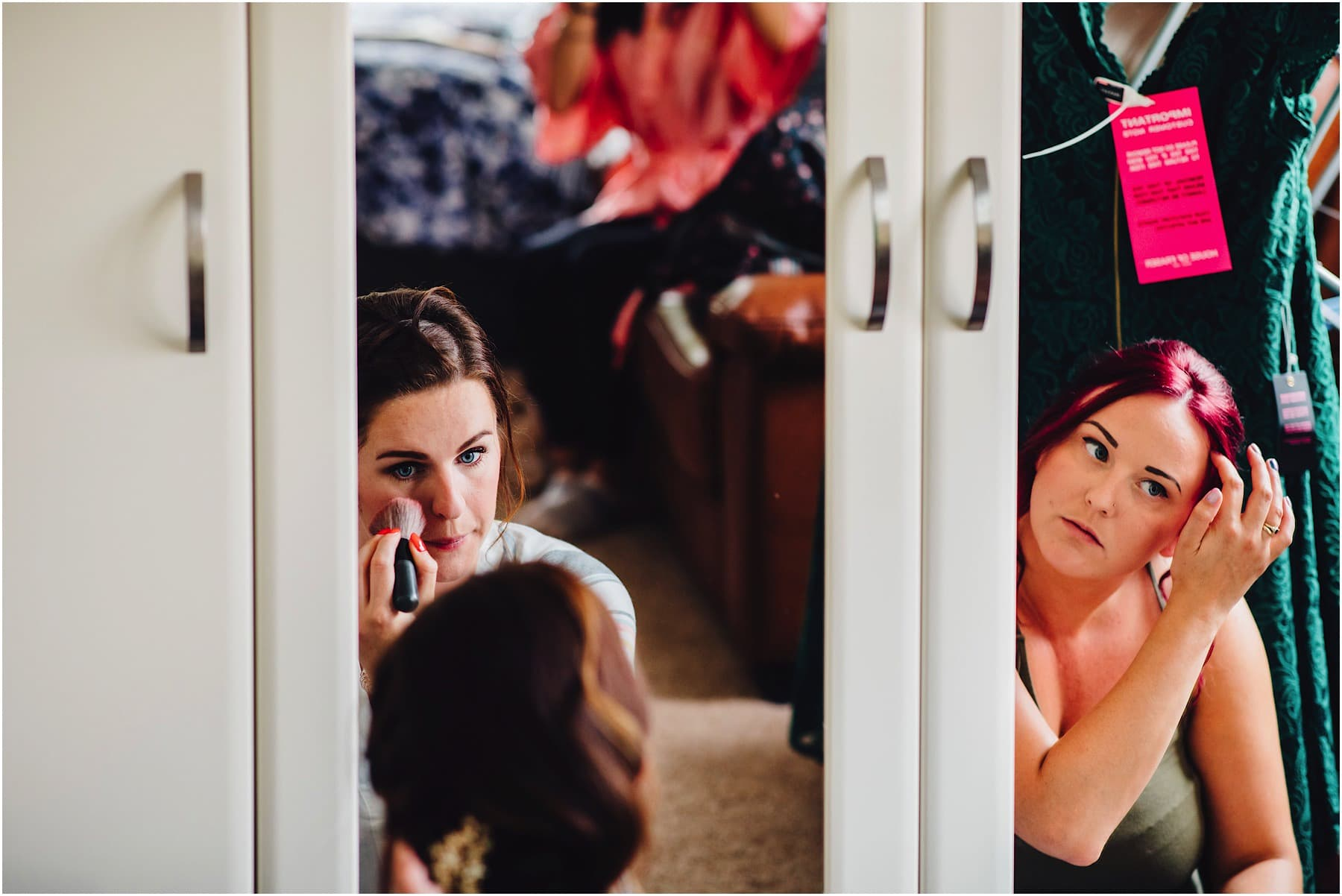 bridesmaids doing their own makeup