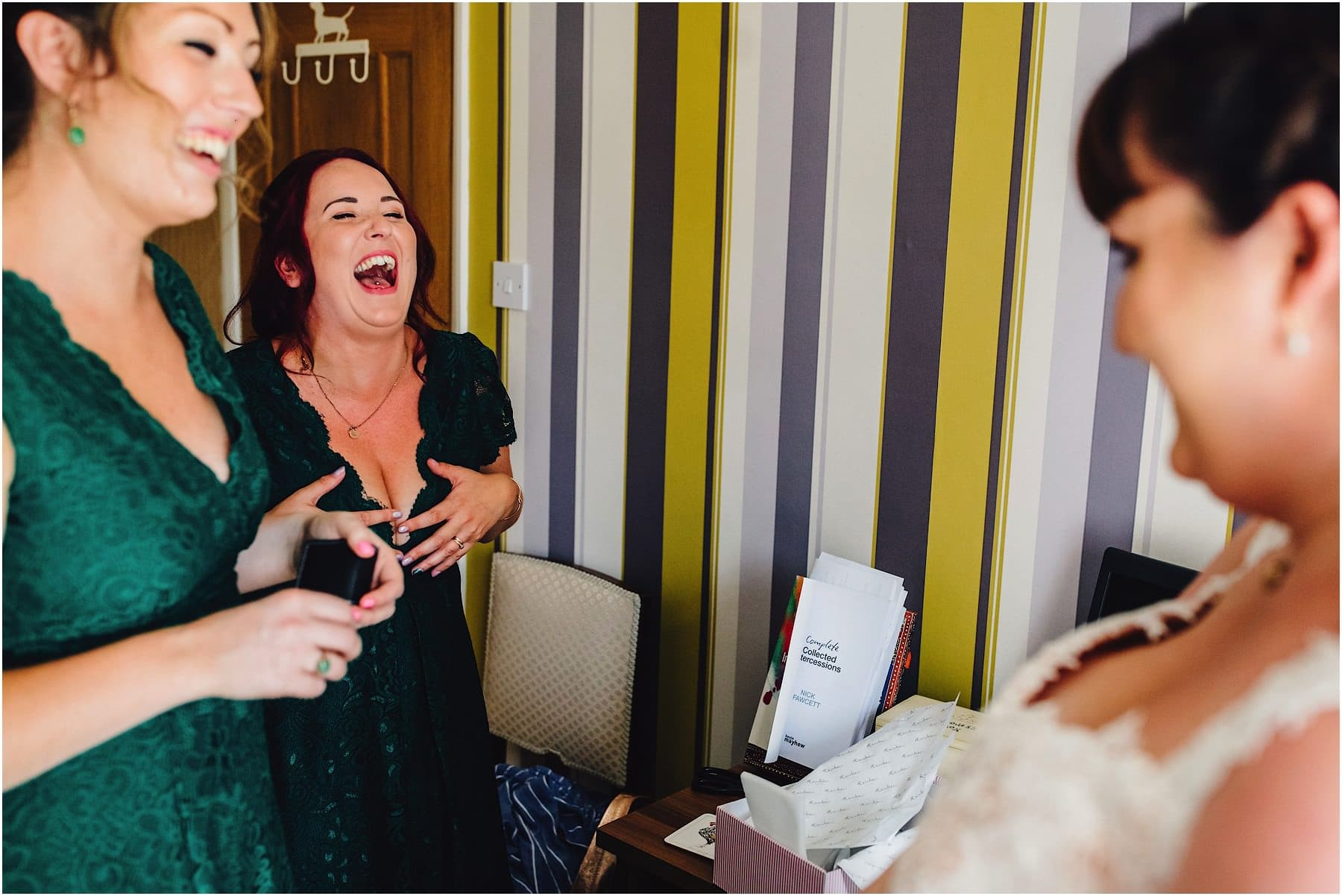 bridesmaid bursting out laughing