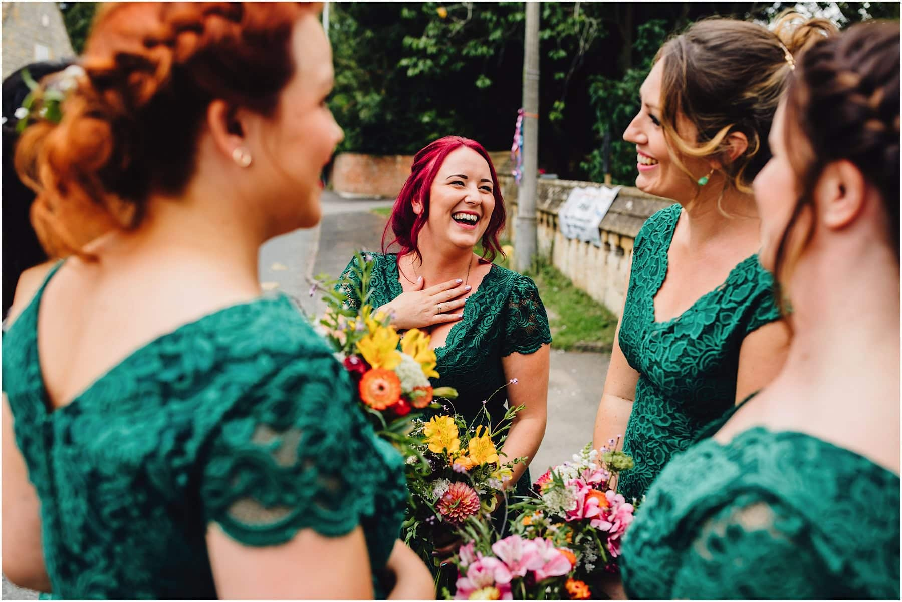bridesmaids waiting for bride to arrive at the church