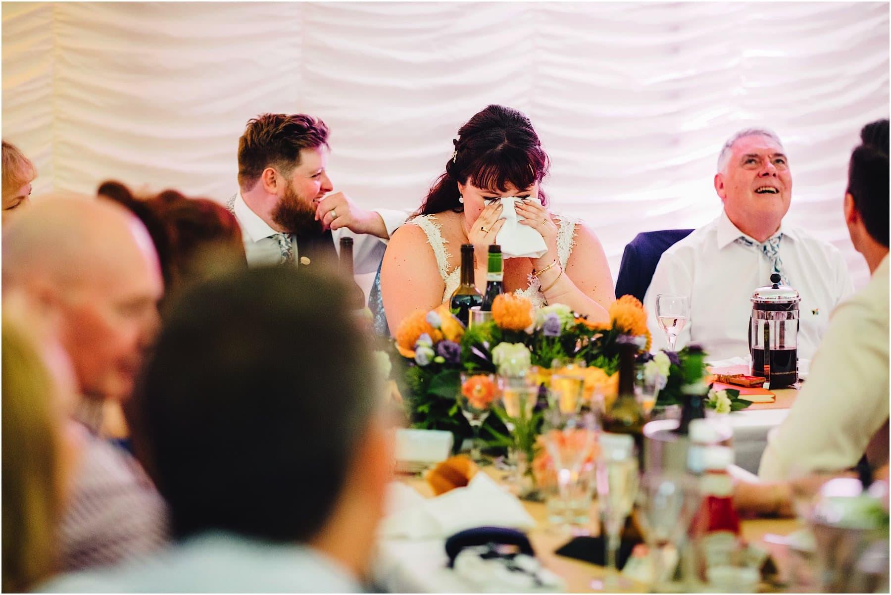 bride crying during wedding speech