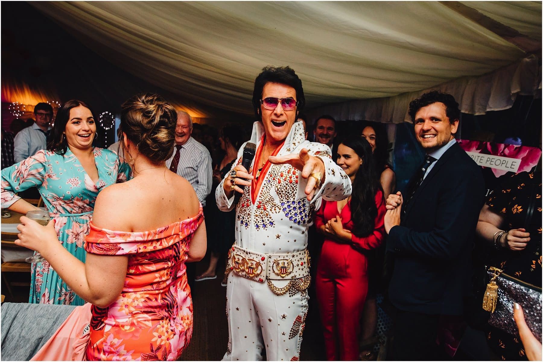 Elvis Impersonator arrives at wedding