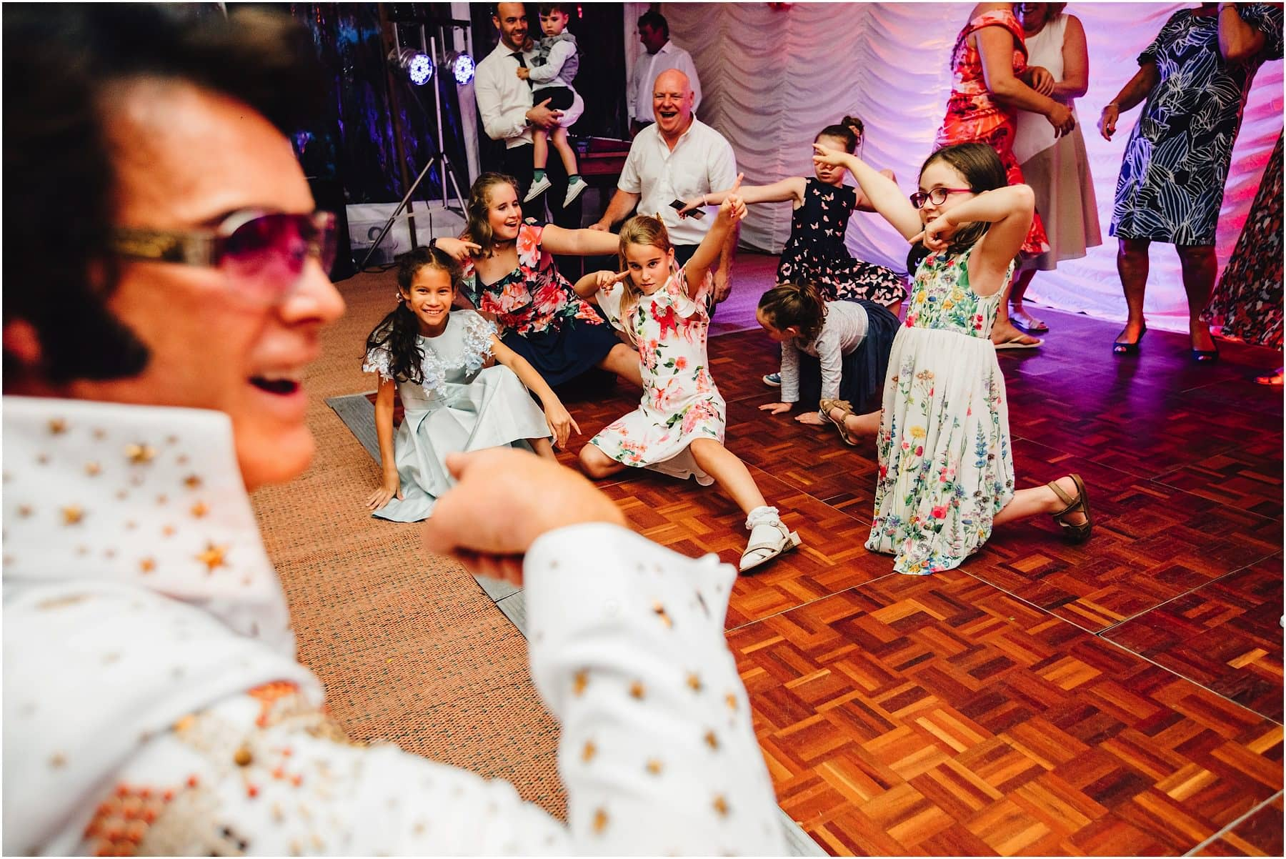children dancing for Elvis Impersonator