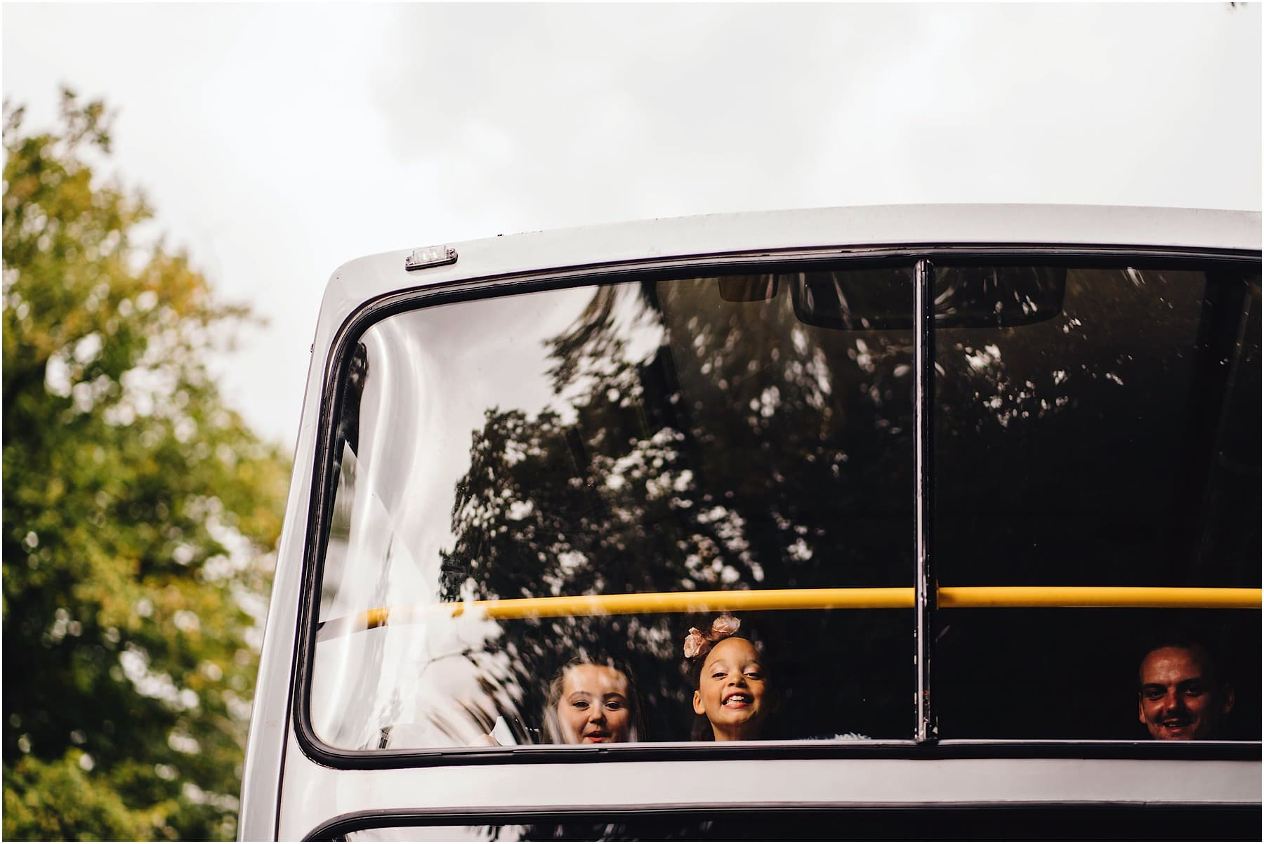 wedding guests in a bus