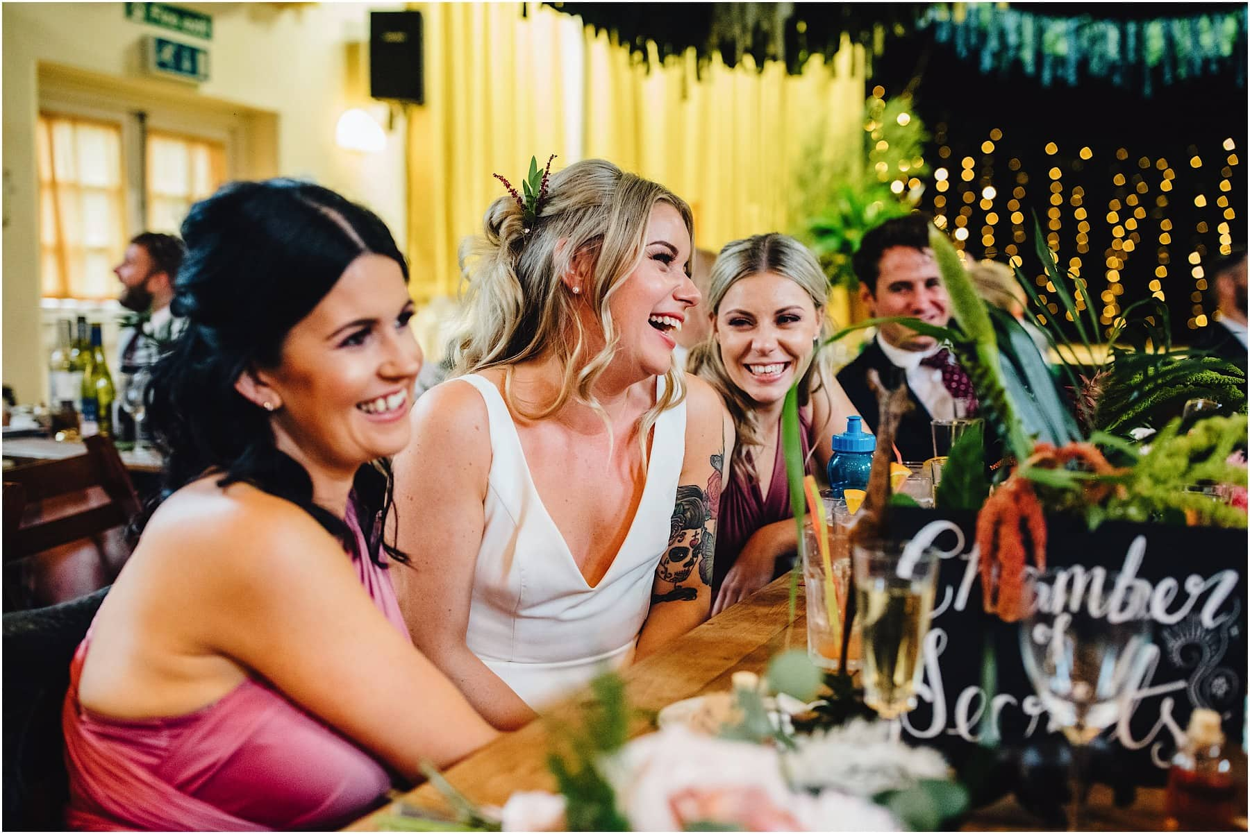 bride reacting to best mans speech