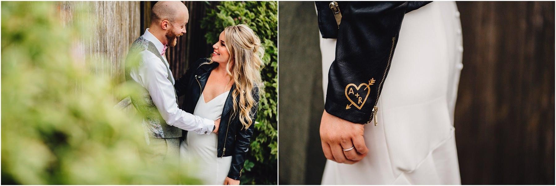 bride showing off her jacket
