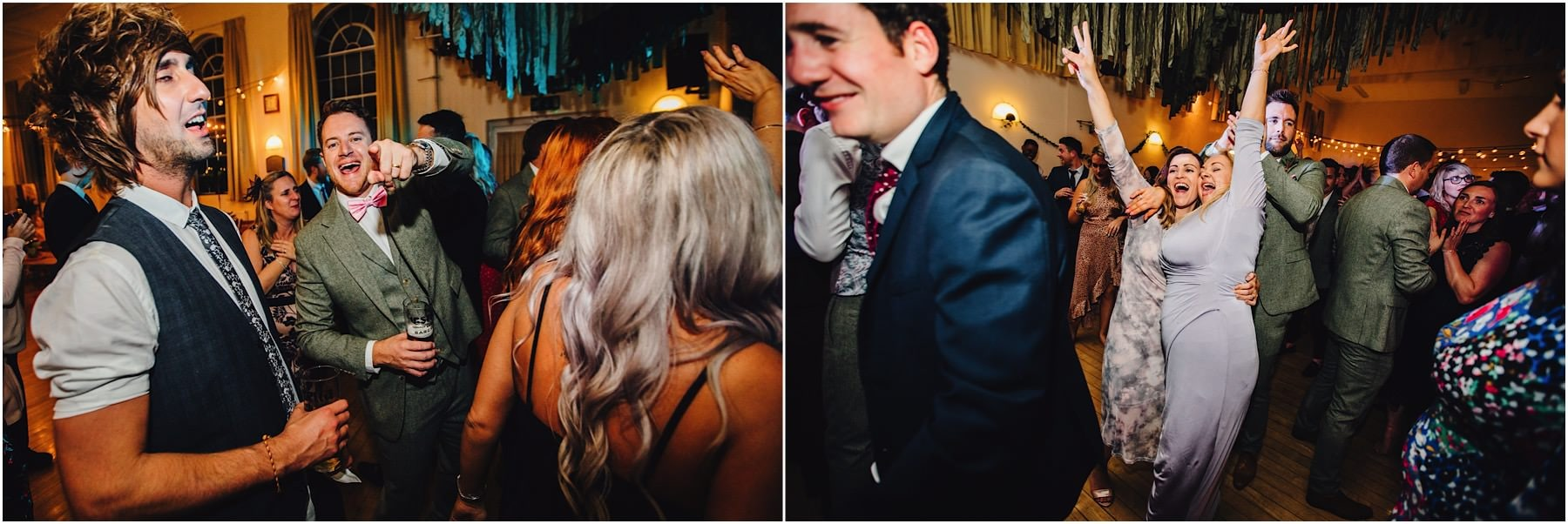 wedding guests dancing and enjoying evening reception