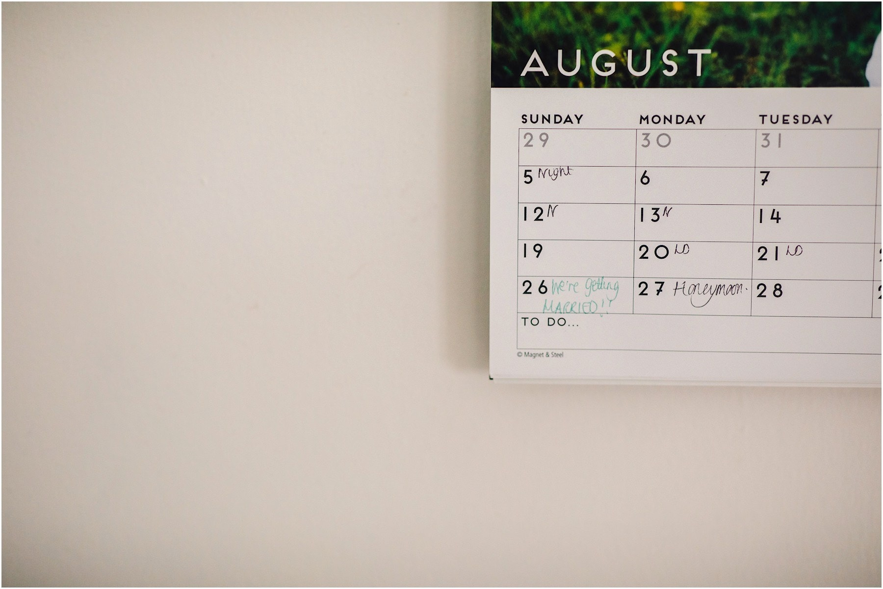 calendar with wedding date on