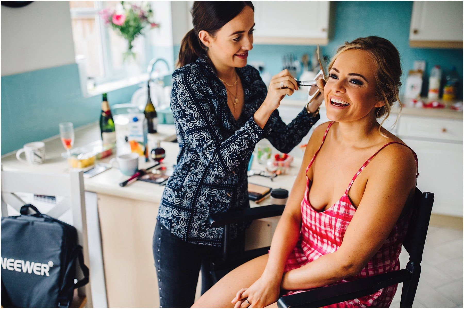 bride in the make up chair