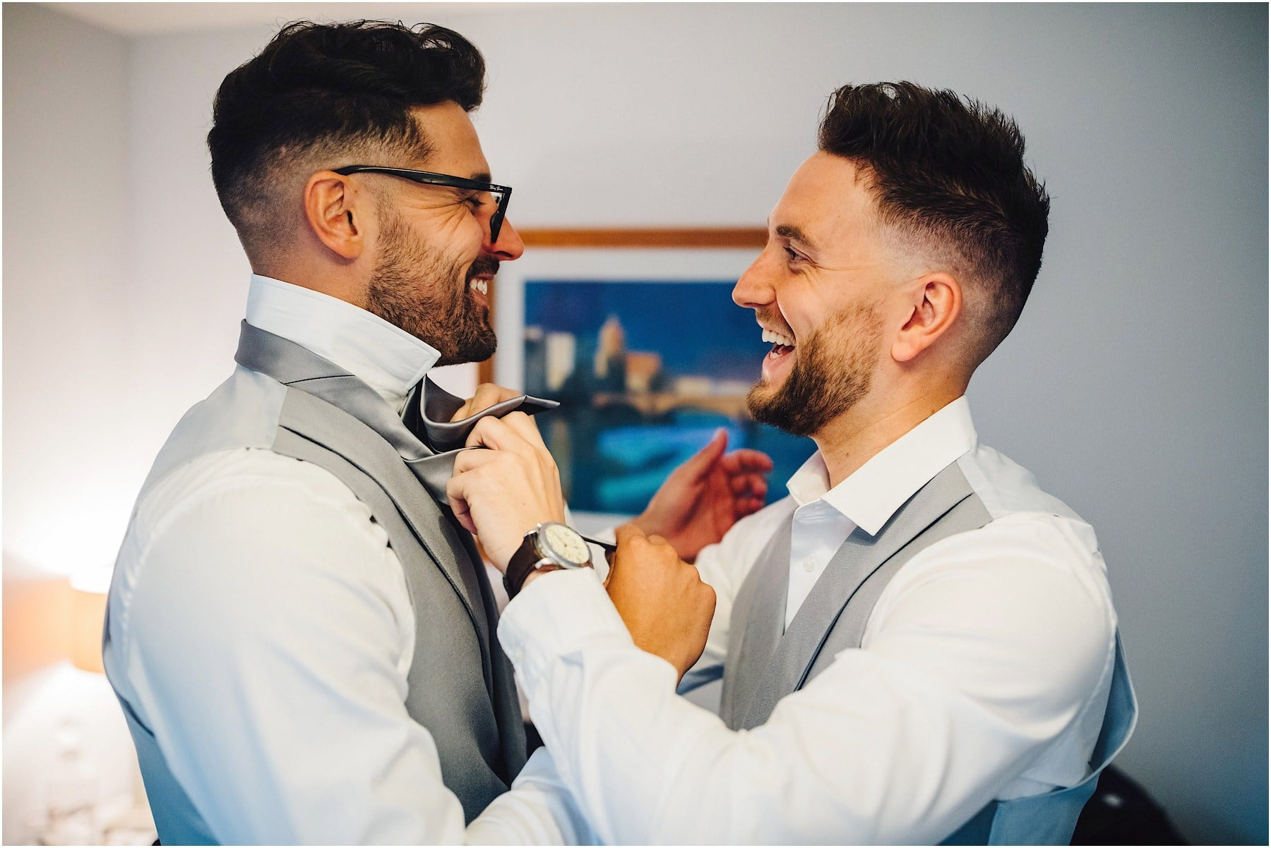 groomsmen getting dressed