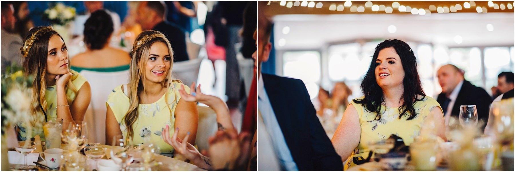 bridesmaids enjoying wedding speeches