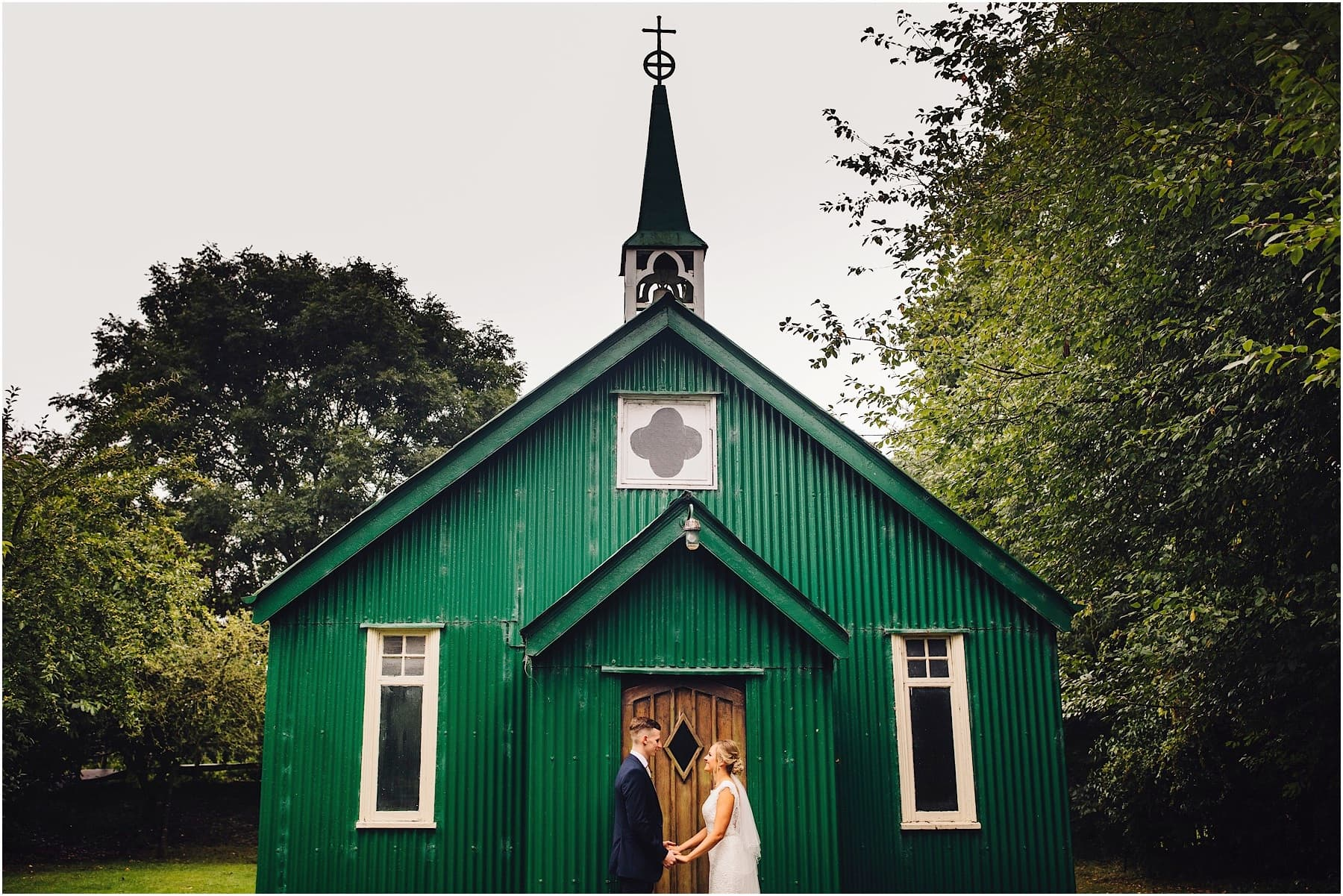 bride and groom at the tin chapel at avoncroft museum