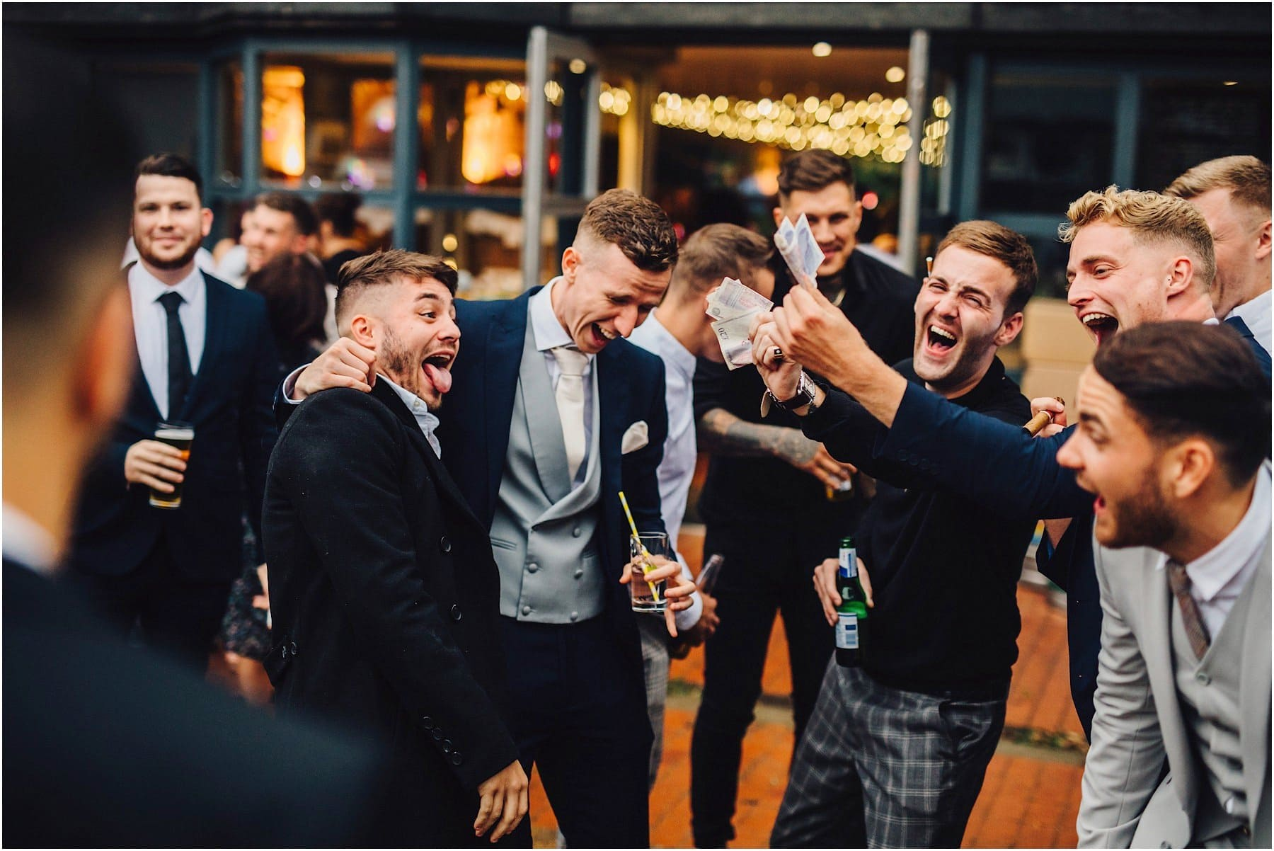 groom plays around with best friends