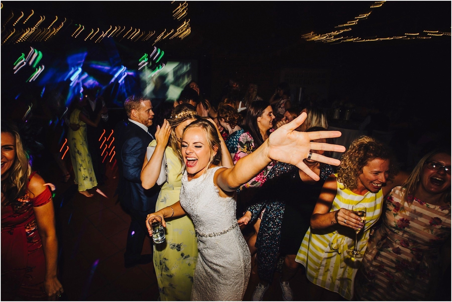 bride dancing and very happy