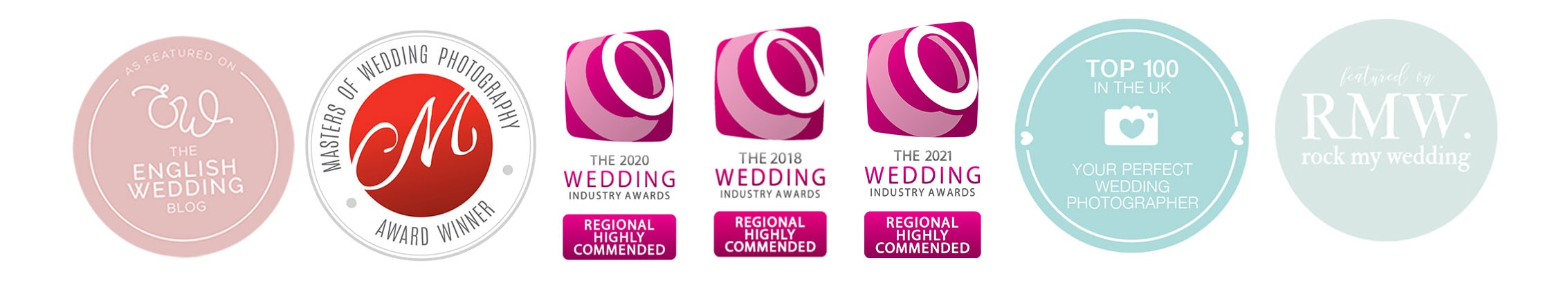 Award badges from West Midlands Wedding Photographer