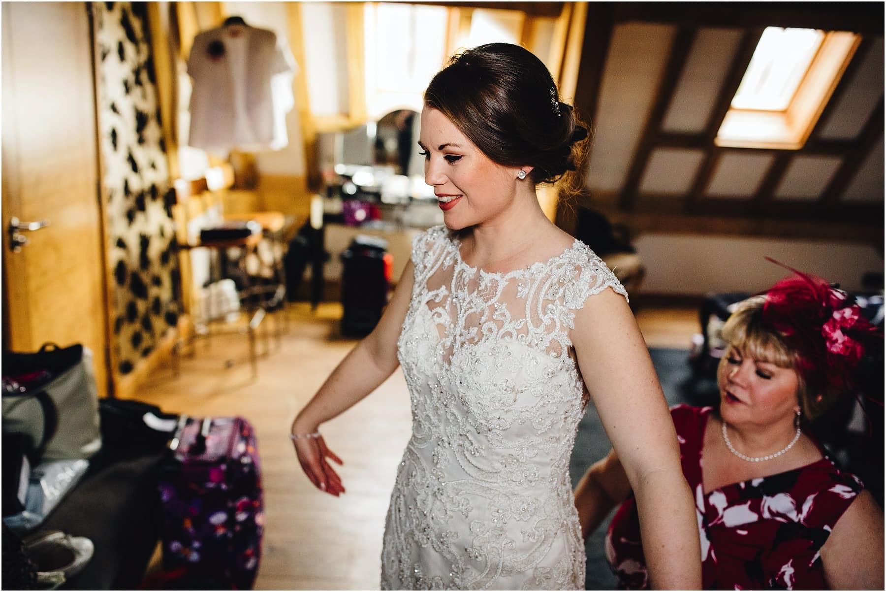 bride happy in her wedding dress