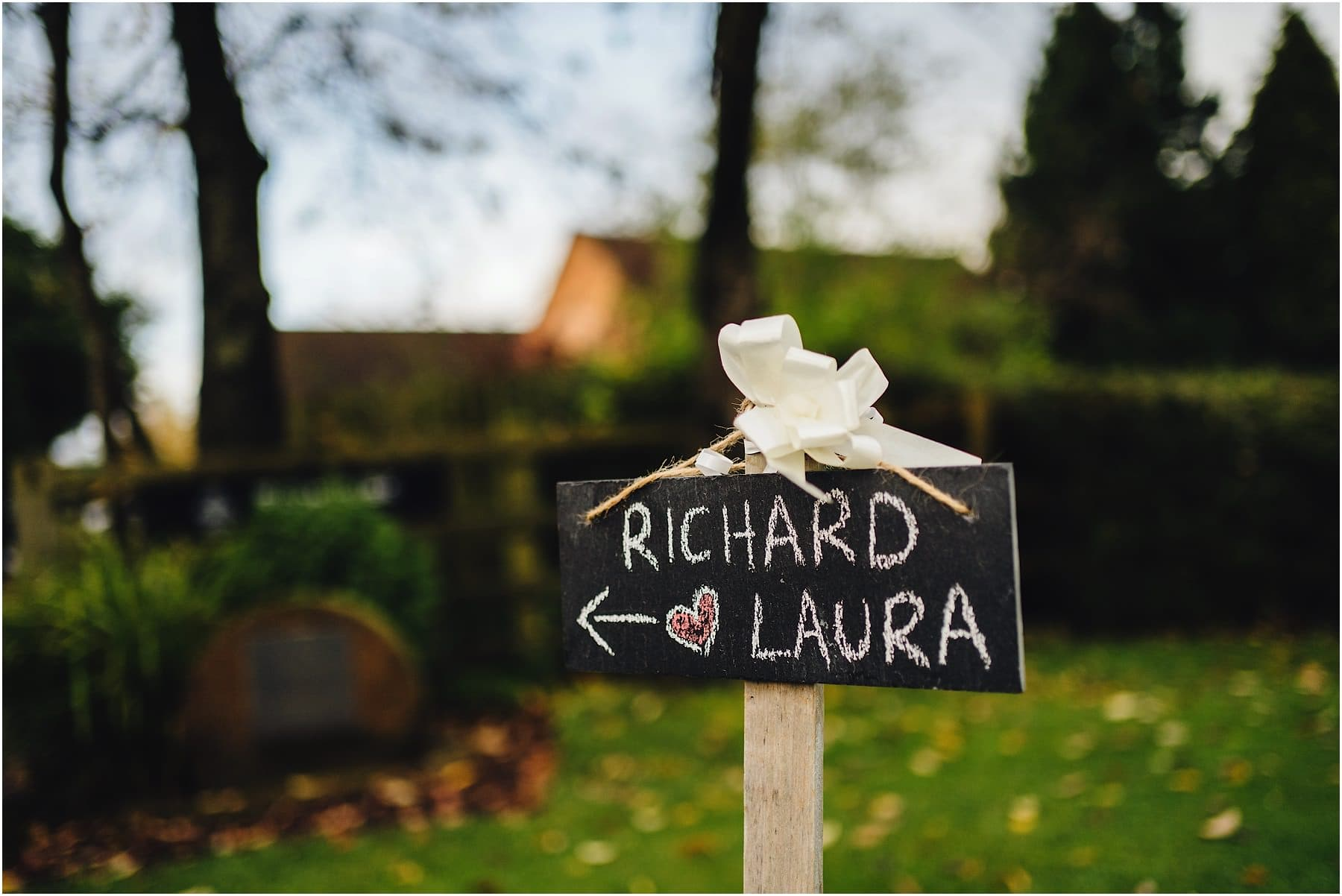 wedding sign with couples name on